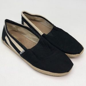 Toms Black Tan Stripe Canvas Loafers Mens 8.5